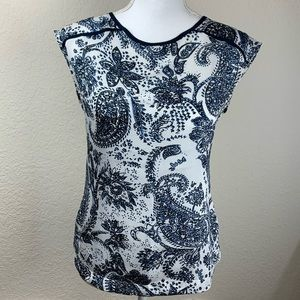 The Limited Blue & White Paisley Top